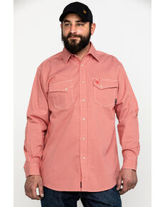 Ariat Men's FR Olmeca Geo Print Snap Long Sleeve Work Shirt - Tall , Bark, hi-res