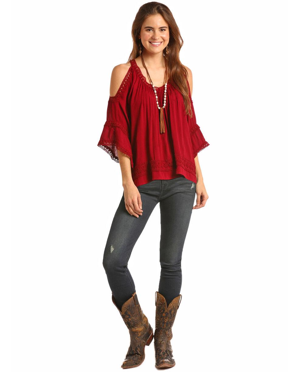 Rock & Roll Cowgirl Women's Lace Trim Cold Shoulder Blouse, Wine, hi-res