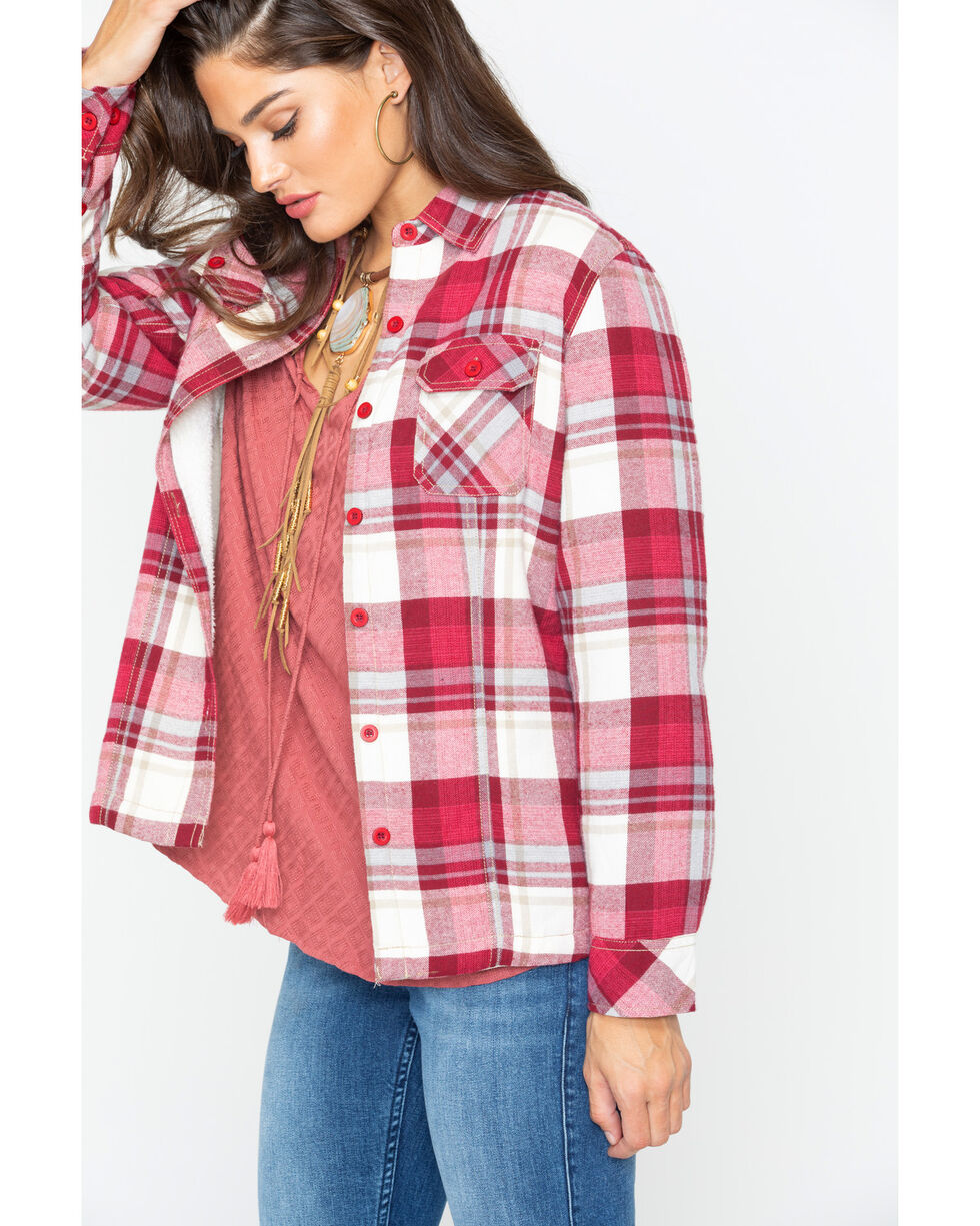 North River Women's Plaid Sherpa Lined Flannel Shirt , Red, hi-res