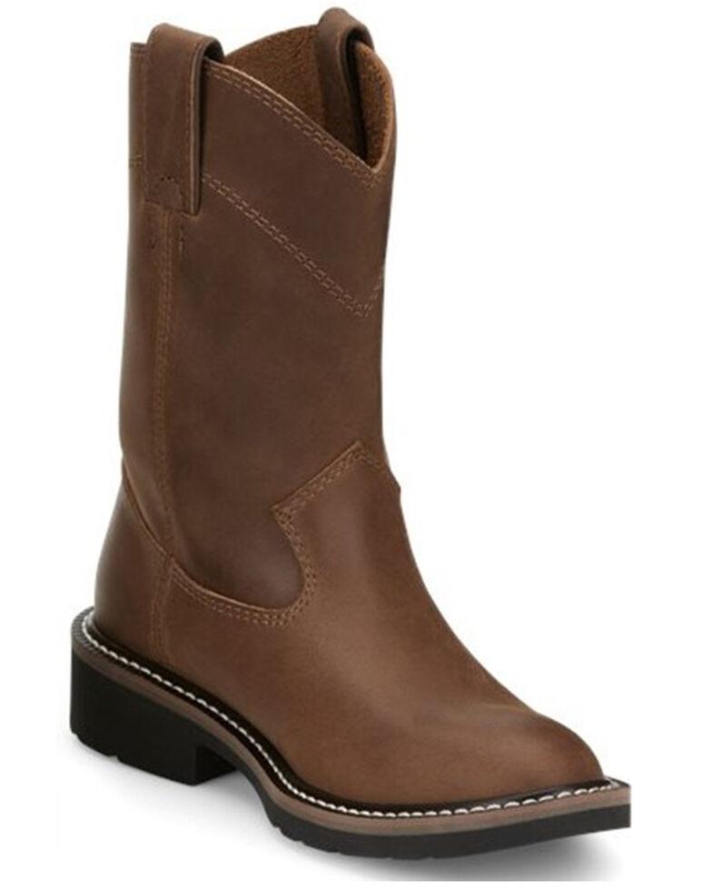 Justin Kids' Brown Roper Western Boots - Round Toe , Brown, hi-res