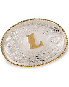 Montana Silversmiths Initial L Western Belt Buckle, Silver, hi-res