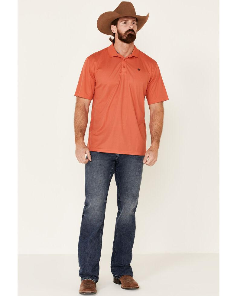 Ariat Men's Orange Tek Short Sleeve Polo Shirt , Orange, hi-res