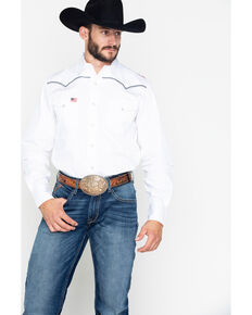 Roper Men's Solid Americana Pipe Eagle Woven Long Sleeve Western Shirt , White, hi-res