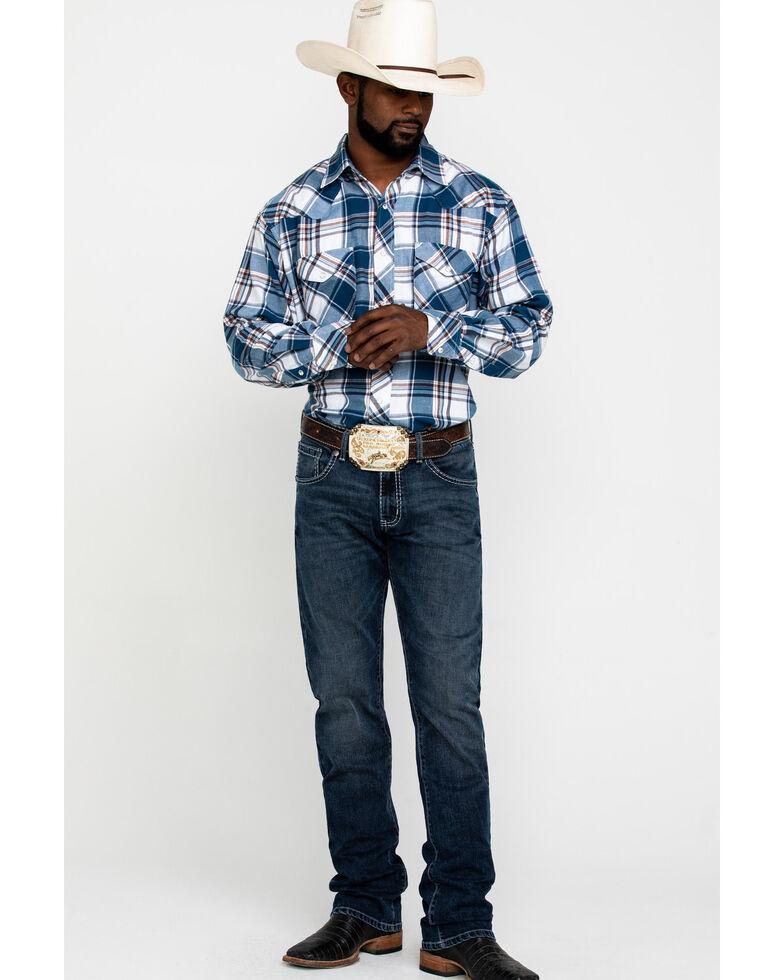 Resistol Men's Blue Dinosaur Valley Large Plaid Long Sleeve Western Shirt , Blue, hi-res