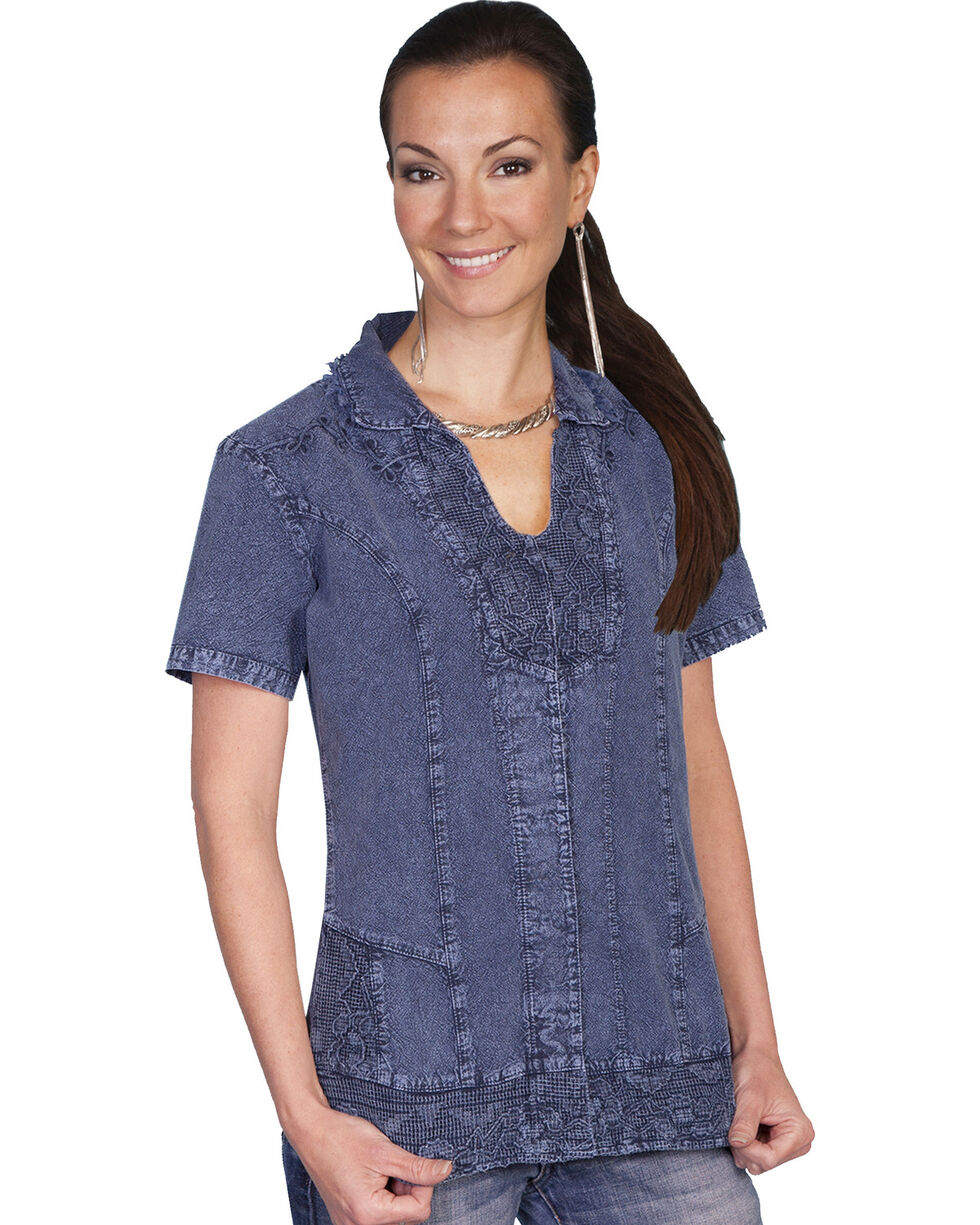 Scully Button Front Short Sleeve Top, Dark Blue, hi-res
