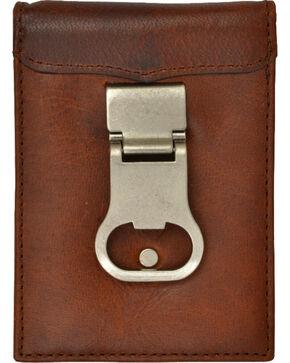 3D Men's Brown Money Clip Wallet with Bottle Opener, Brown, hi-res