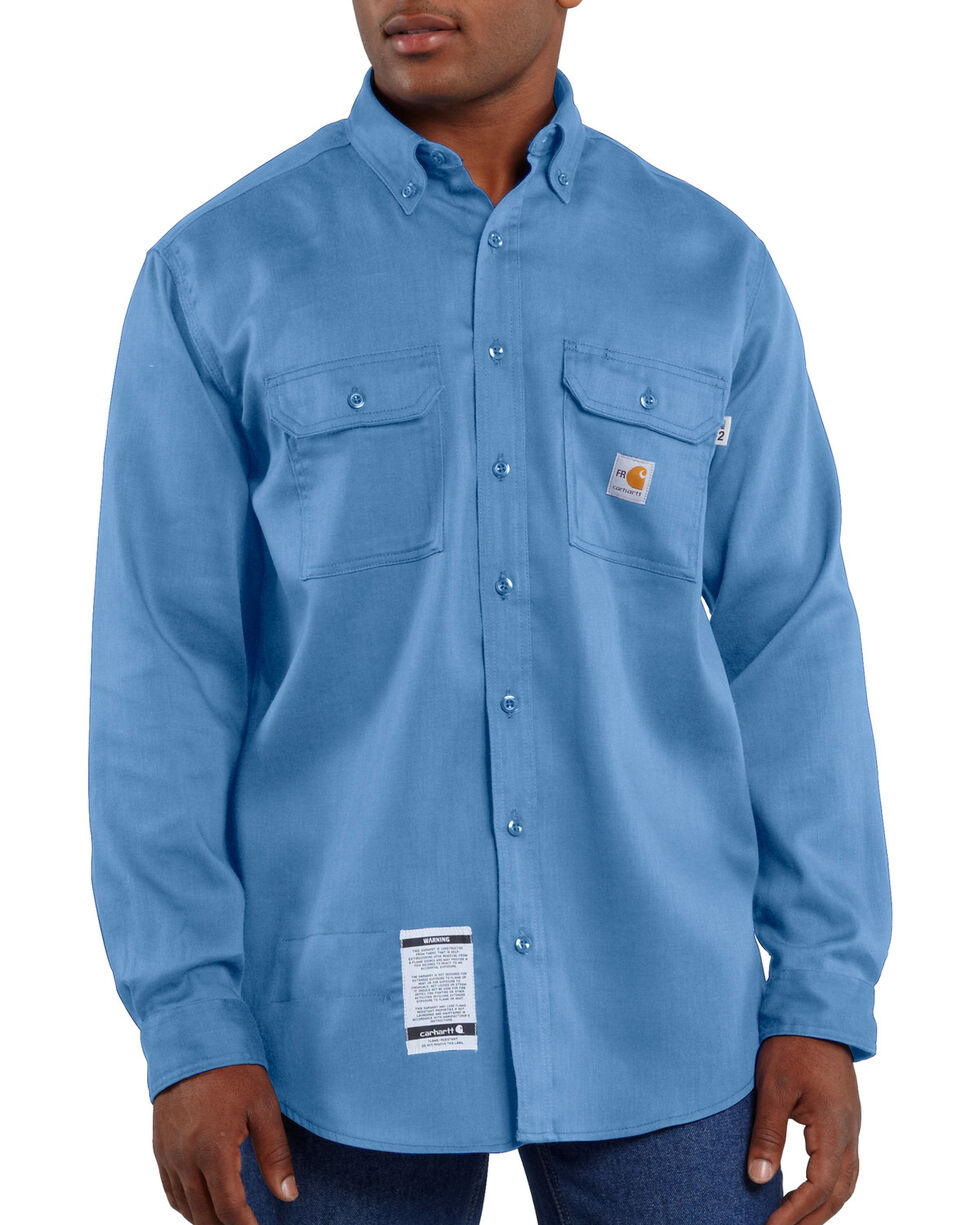Carhartt Flame Resistant Dry Twill Work Shirt, Med Blue, hi-res