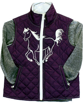 Cowgirl Hardware Toddler Girls' Filly Quilted Vest, Purple, hi-res