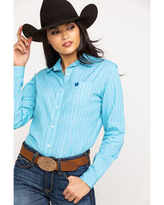 Rough Stock by Panhandle Women's Rust Stripe Button Long Sleeve Western Shirt, Turquoise, hi-res