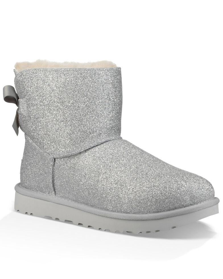 1000d5e93d3 UGG Women's Silver Mini Bailey Bow Sparkle Boots - Round Toe