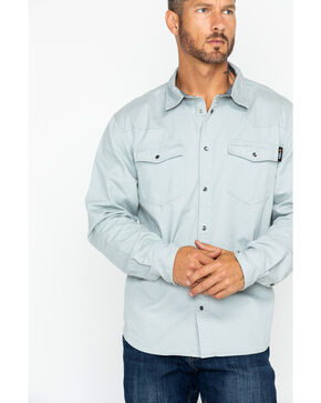 Hawx Men's Twill Snap Western Work Shirt , Grey, hi-res