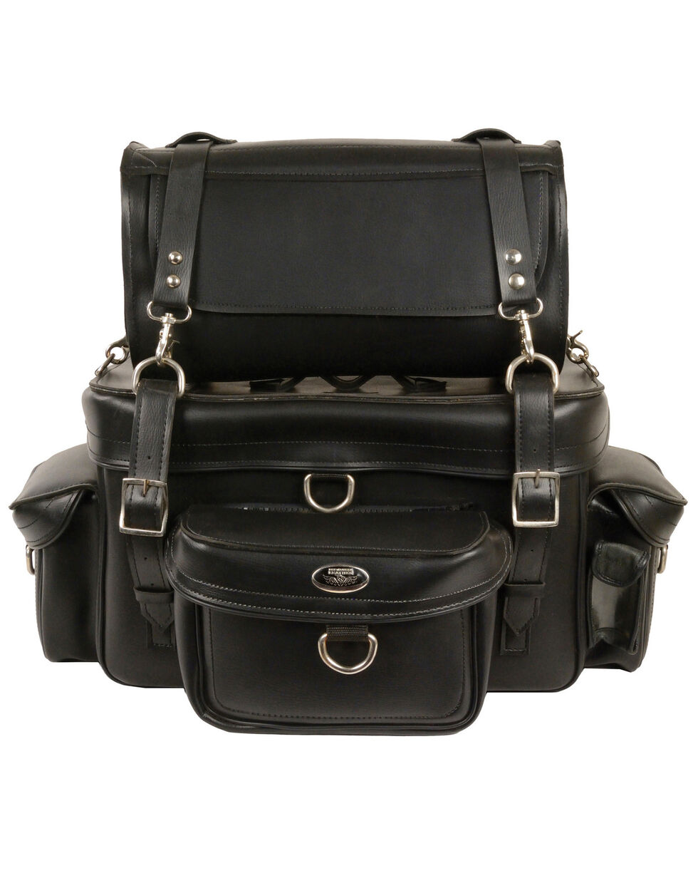 Milwaukee Leather Two Piece Touring Sissy Bar Bag, Black, hi-res