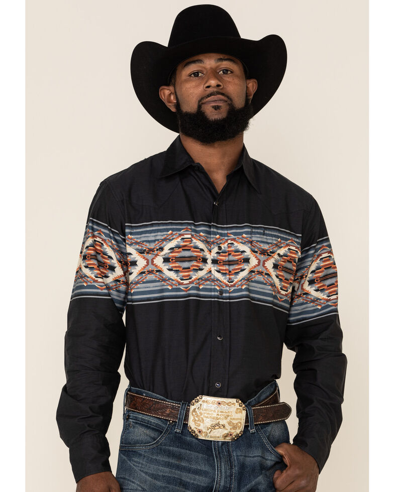 Roper Men's Vintage Blanket Aztec Border Print Long Sleeve Western Shirt , Blue, hi-res