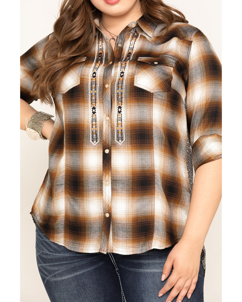 White Label by Panhandle Women's Brown Plaid Long Sleeve Top - Plus, Brown, hi-res