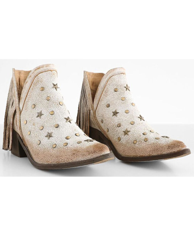 Circle G Women's White Fringe Fashion Booties - Pointed Toe, White, hi-res