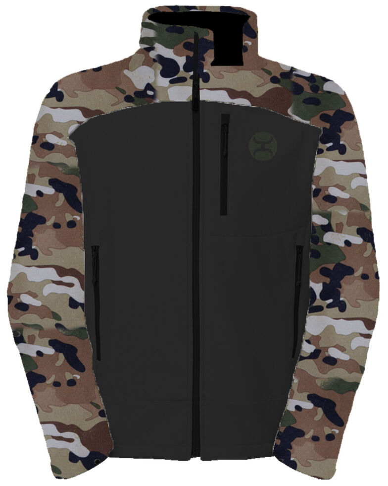 HOOey Men's Camo Softshell Zip-Up Athletic Jacket , Camouflage, hi-res