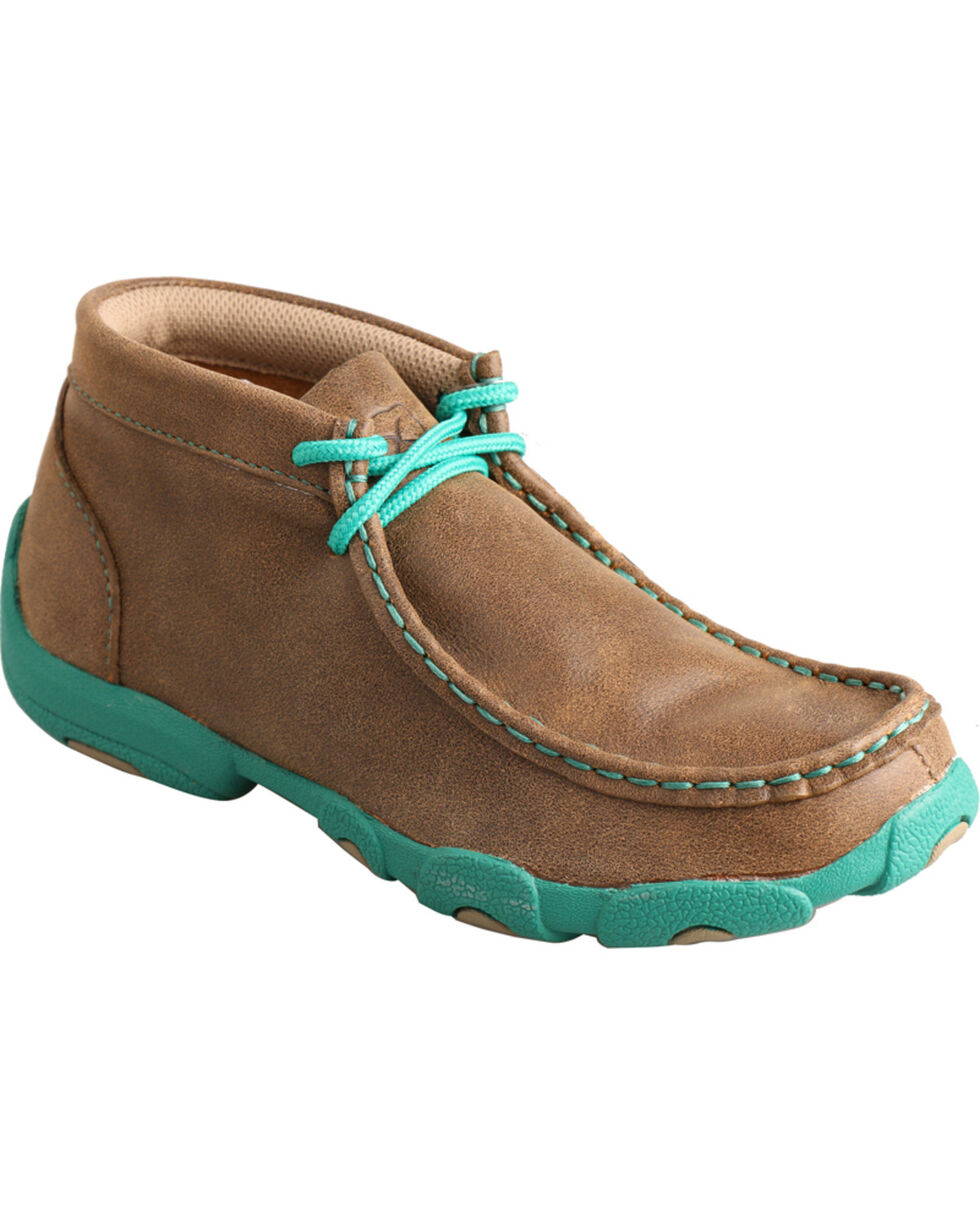 Twisted X Kid's Brown and Turquoise Leather Driving Mocs, Bomber, hi-res