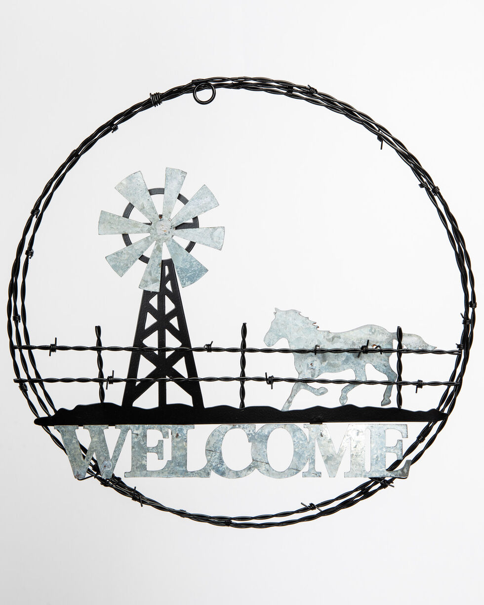 BB Ranch Barbed Wire Welcome Sign, Black, hi-res
