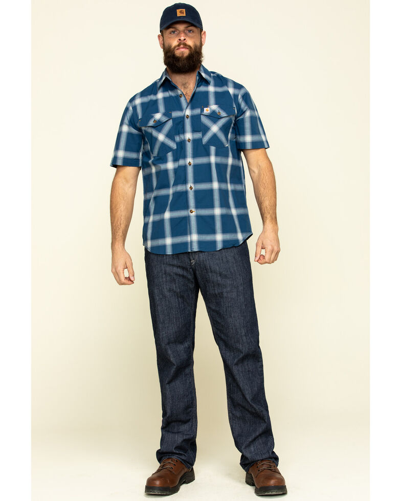 Carhartt Men's Dark Blue Rugged Flex Bozeman Plaid Short Sleeve Work Shirt - Big , , hi-res