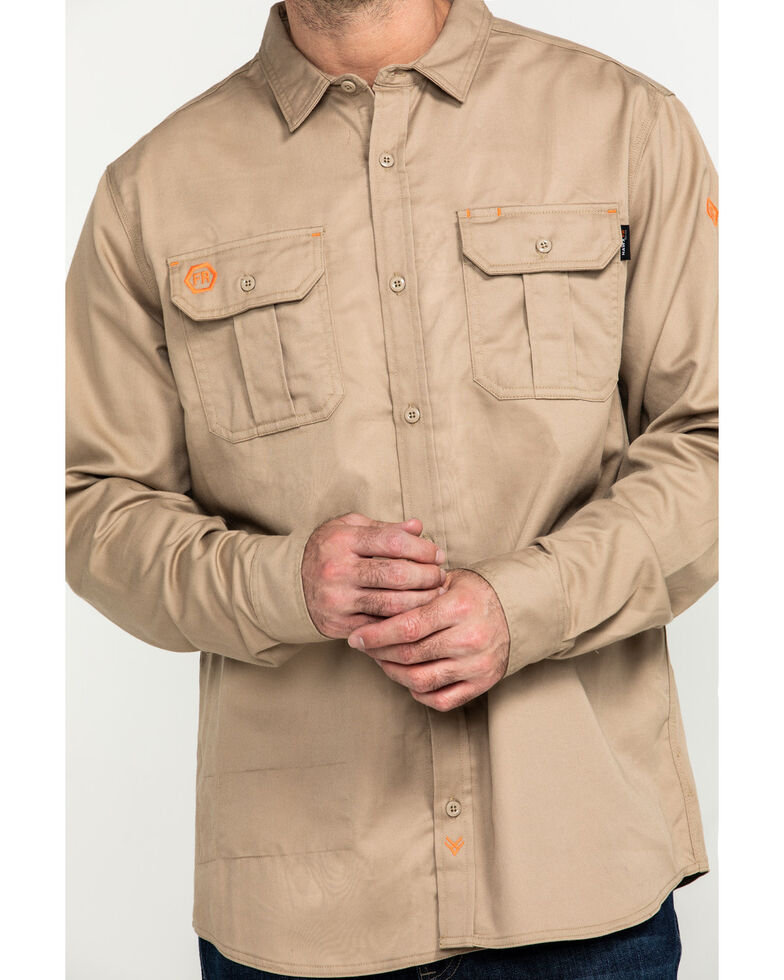 Hawx Men's Khaki FR Long Sleeve Woven Work Shirt - Tall , Beige/khaki, hi-res