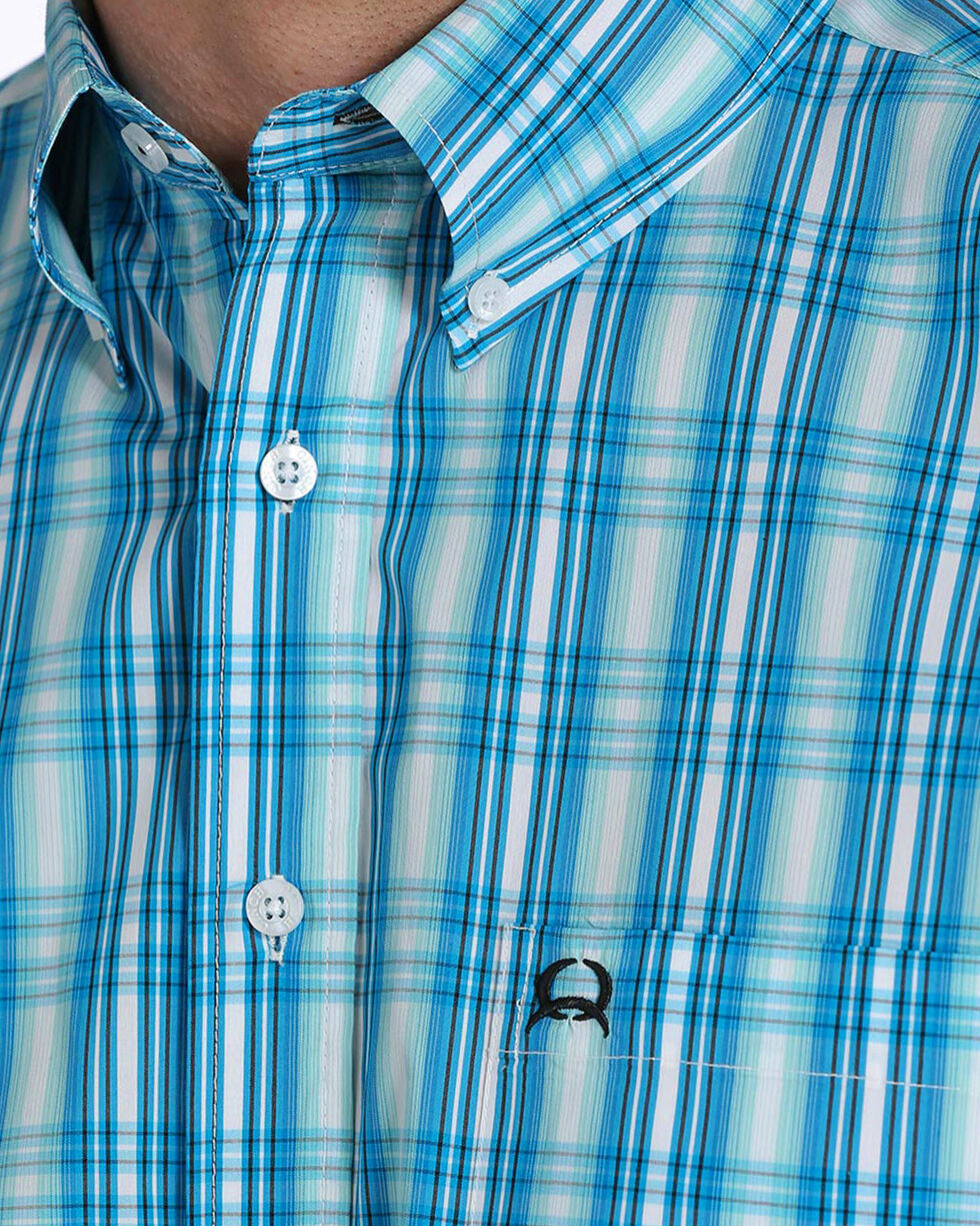 Cinch Men's ArenaFlex Light Blue Plaid Short Sleeve Button Down Shirt, Light Blue, hi-res