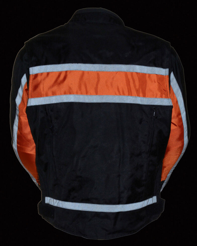 Milwaukee Leather Men's Reflective Stripe Racer Jacket, Black/orange, hi-res