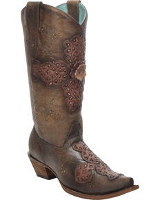 Corral Women's Laser-Cut Inlay Snip Toe Western Boots, Sand, hi-res