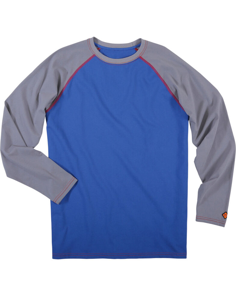 Wrangler Men's Blue FR Flame Resistant Knit Baseball Tee, Blue, hi-res