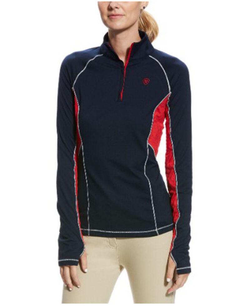 Ariat Women's Team Lowell 2.0 1/4 Zip Baselayer  Pullover, Black, hi-res