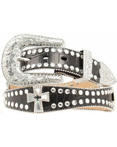 Nocona Women's Scalloped Gator and Rhinestone Cross Western Belt, Black, hi-res