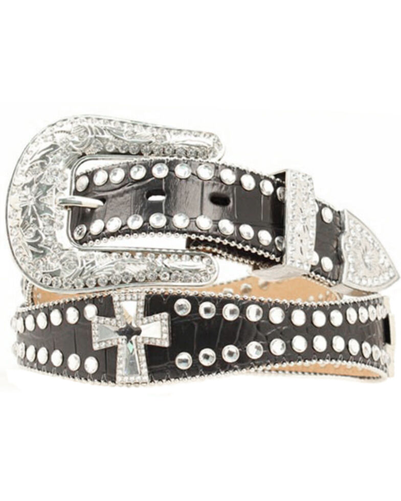 Blazin Roxx Scalloped Studded & Cross Belt, Black, hi-res