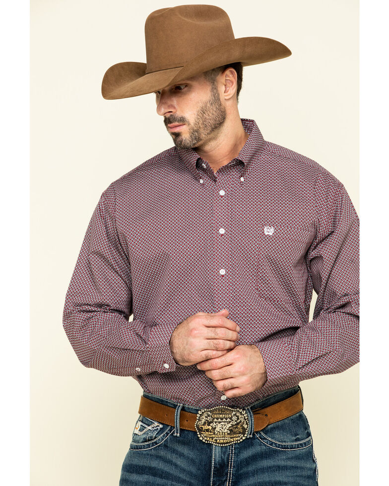 Cinch Men's Red Geo Print Plain Weave Long Sleeve Western Shirt , Red, hi-res