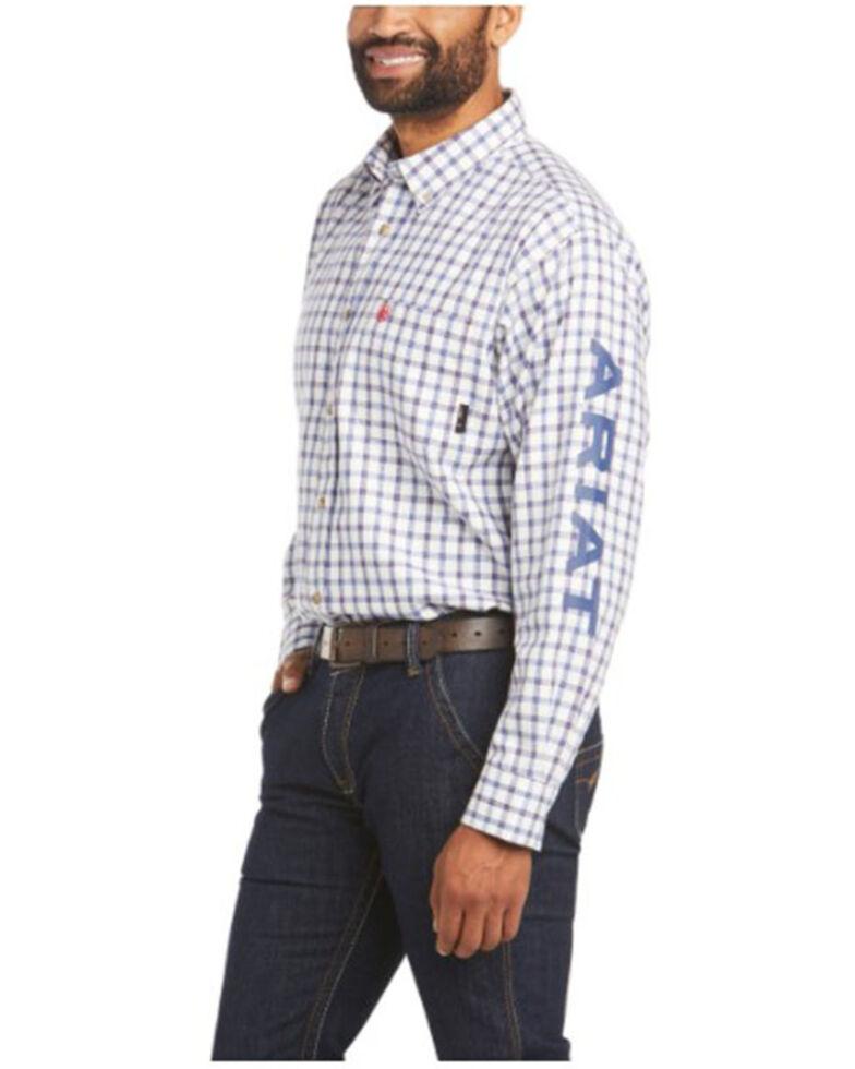 Ariat Men's FR Franko Plaid Logo Long Sleeve Button-Down Work Shirt , White, hi-res