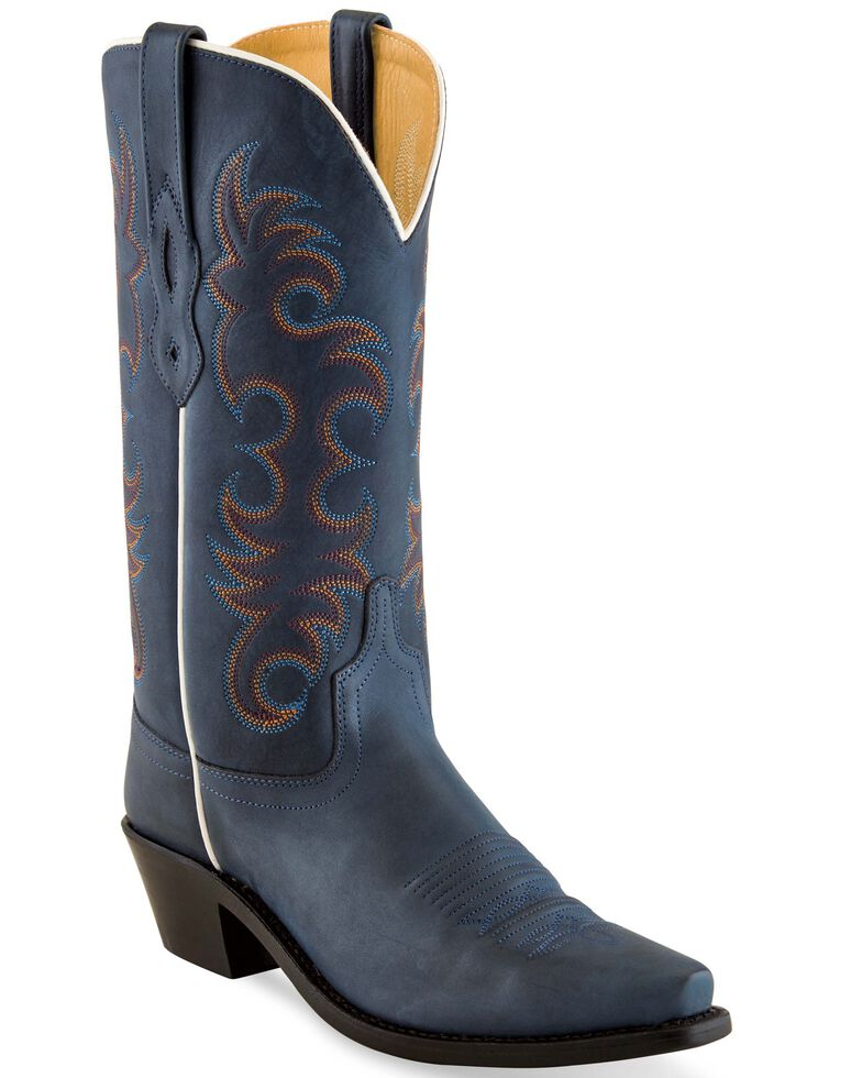 Old West Women's Demin Blue Western Boots - Snip Toe, Blue, hi-res