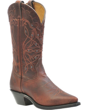 "Boulet Women's 12"" Antique Nickel Studded Cowboy Boots, Copper, hi-res"