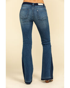 Rock & Roll Cowgirl Women's Medium Dark Flare Jeans , Blue, hi-res