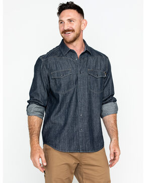 Hawx Men's Denim Snap Western Work Shirt, Indigo, hi-res