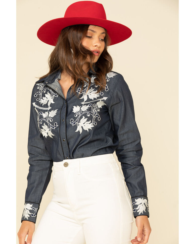 Scully Women's Chambray Embroidered Snap Long Sleeve Western Shirt, Blue, hi-res