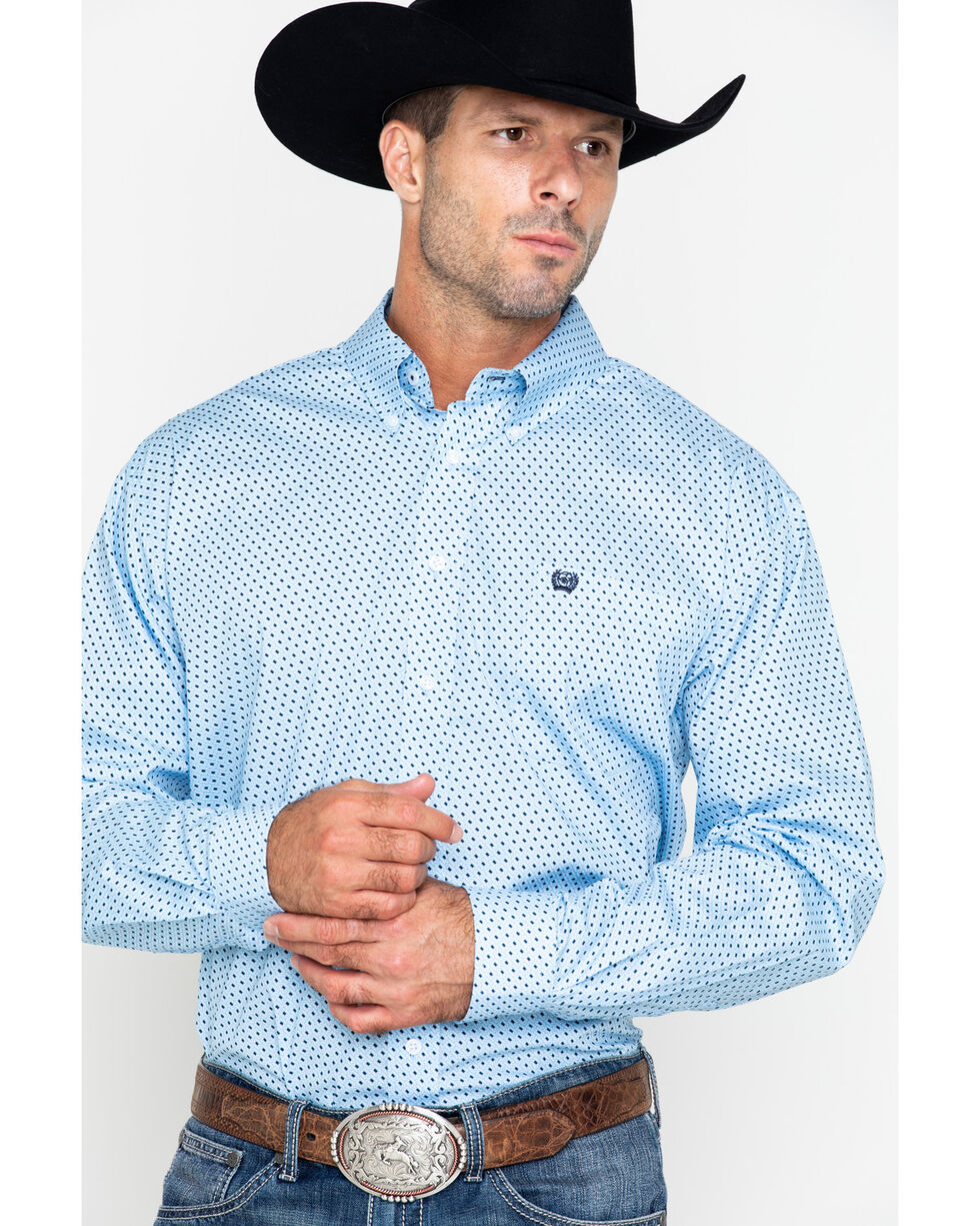 Cinch Men's Blue Intricate Print Western Shirt , Light Blue, hi-res