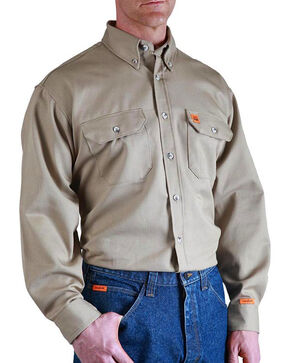 Wrangler Men's Khaki Flame Resistant Long Sleeve Work Shirt - Big & Tall, Beige/khaki, hi-res