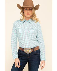 Wrangler Women's Turquoise Check Snap Long Sleeve Western Shirt, Turquoise, hi-res