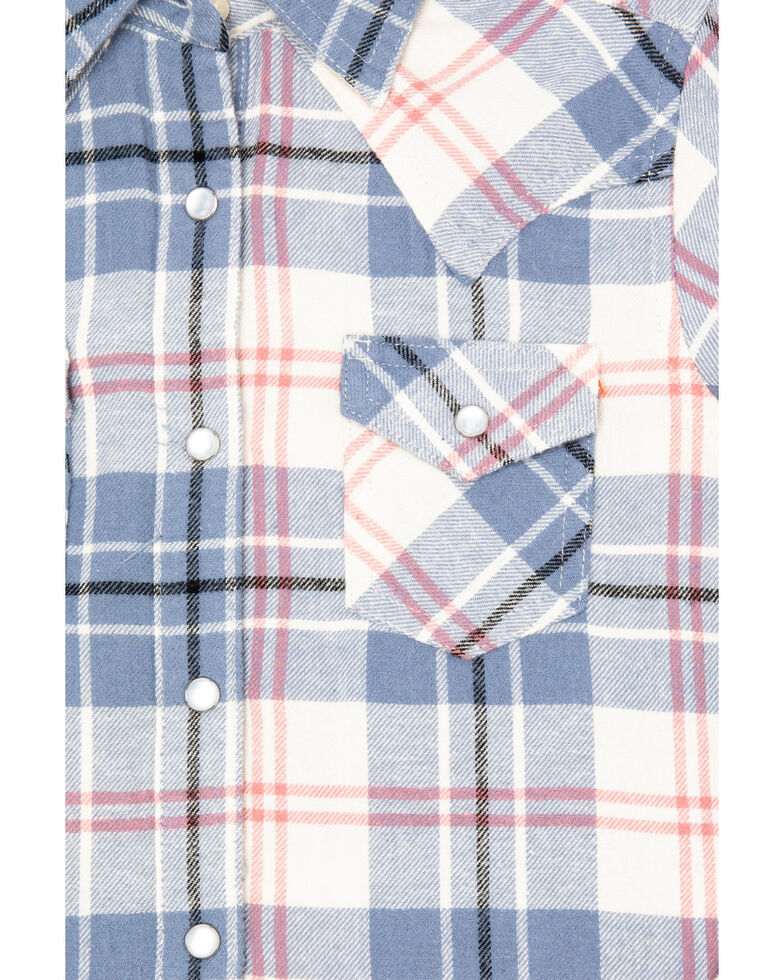 Wrangler Girls' Pink Big Plaid Flannel Shirt, Multi, hi-res