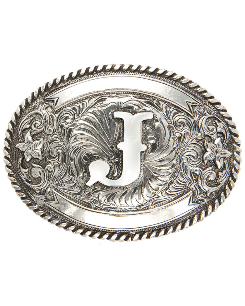 Cody James Men's Initial J Belt Buckle, Silver, hi-res