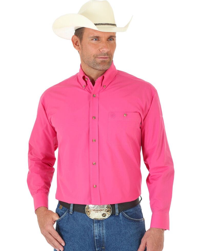 285a5779 Zoomed Image George Strait by Wrangler Men's Pink Solid Long Sleeve Western  Shirt, Pink, hi-