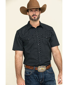 Gibson Men's Wheat Field Geo Print Short Sleeve Western Shirt , Navy, hi-res
