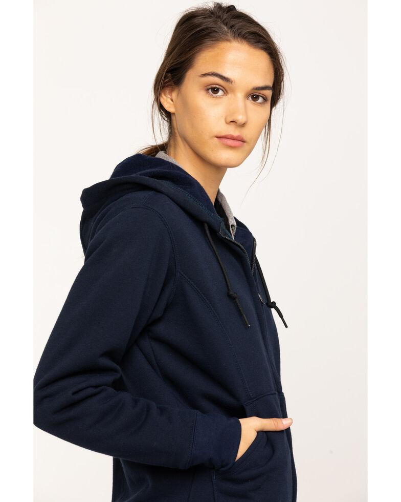 Carhartt Women's FR Rain Defender Hooded Heavyweight Zip Sweatshirt, Navy, hi-res
