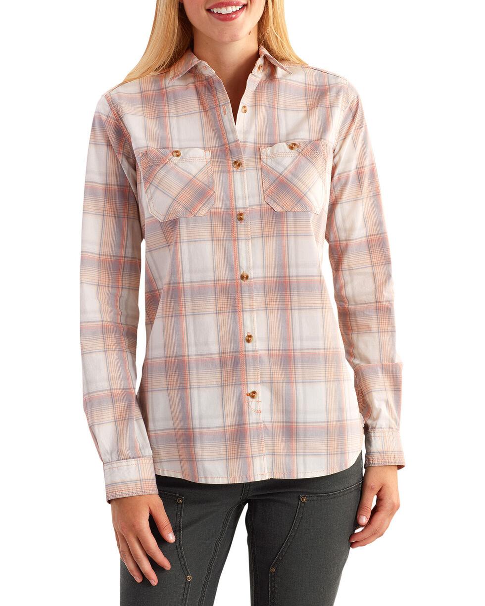 Carhartt Women's Plaid Long Sleeve Shirt, Peach, hi-res