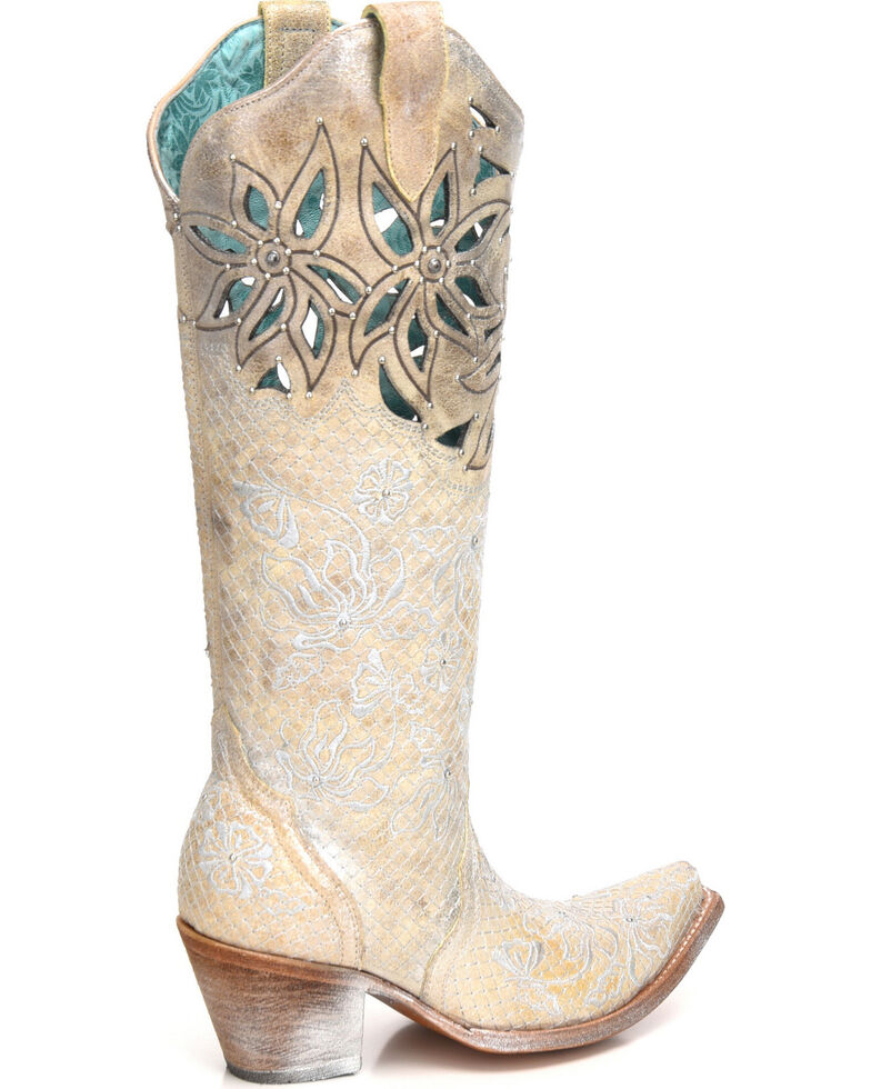 Corral Women's Metallic Cutout Embellished Cowgirl Boots - Snip Toe, , hi-res