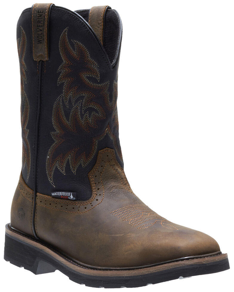 Wolverine Men's Rancher Waterproof Western Work Boots - Soft Toe, Black, hi-res