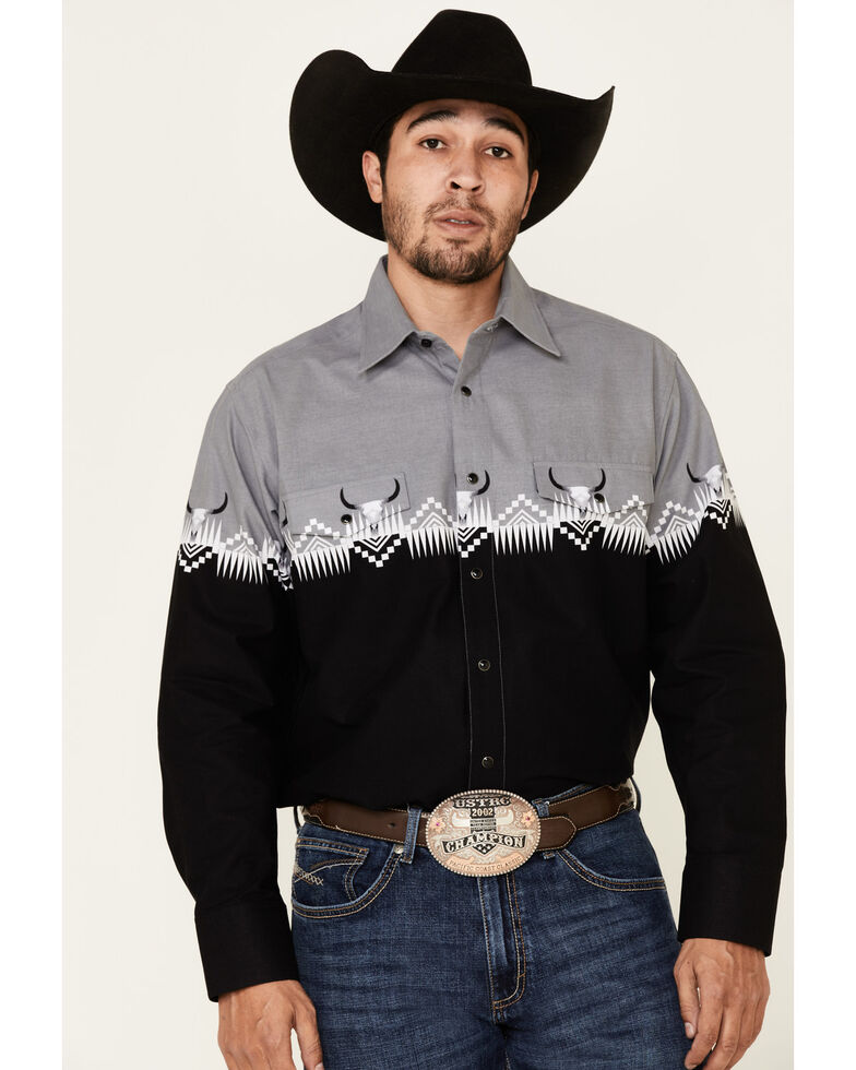 Panhandle Men's Black Buffalo Border Print Long Sleeve Western Shirt , Black, hi-res